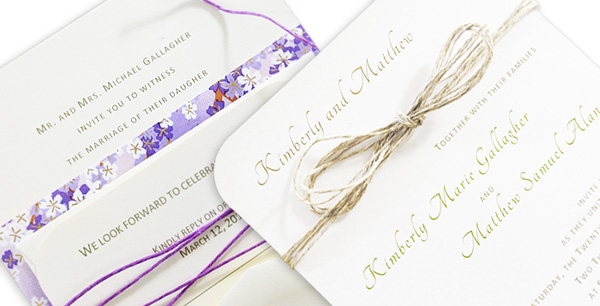 Round corner invitation with matching response card decorated with twine
