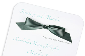 Round corner wedding invitation with pre-tied self-stick satin bow