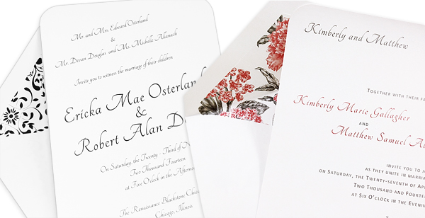 White round corner invitations with matching pattern lined envelopes