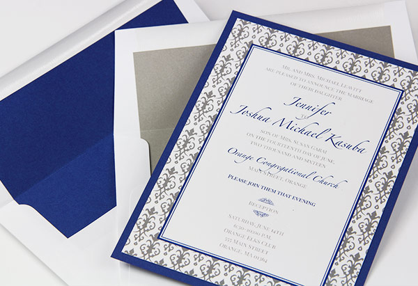 Royal Blue And Gray Layered Wedding Invitations With Matching Lined Envelopes