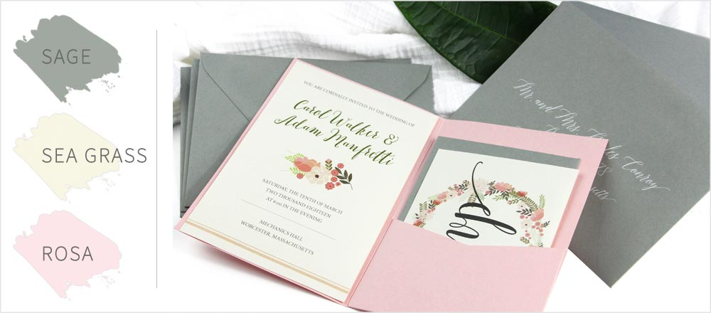 Sage green & pink pocket invitation. Order paper, envelopes, pockets, blank or printed from LCI Paper