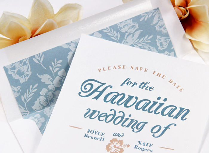 Hawaiian themed save the date with complementing custom printed floral envelope liner from LCIPaper.com