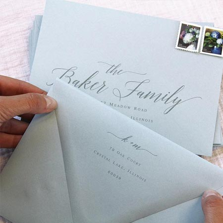 How to seal wedding envelopes without licking. Sealed euro flap dusty blue wedding envelopes.
