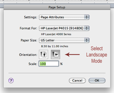 select landscape orientation within word