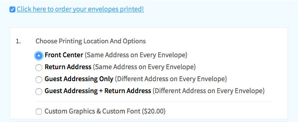 Choose envelope printing location