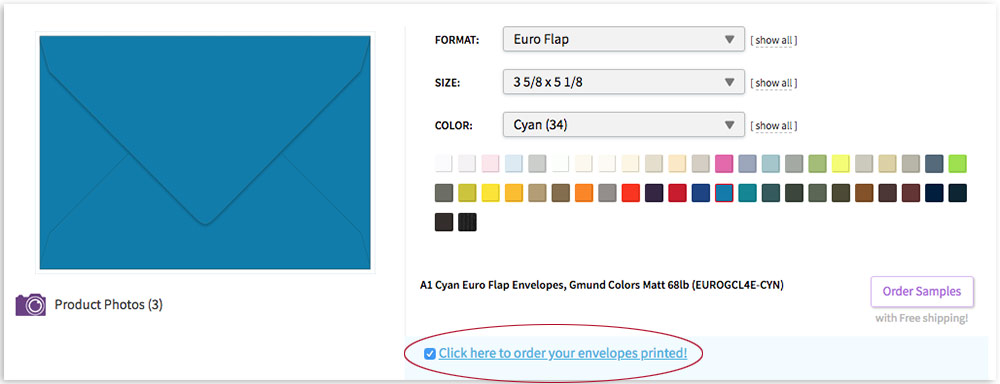 select printed button on envelope ordering page