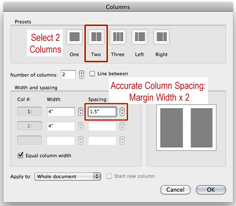 format spacing between columns in Word