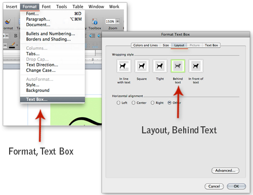 set layout of text box in Word