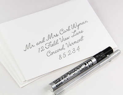 Cotton envelopes tested with silver pens
