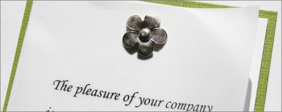 silver metal flower brad wedding invitation