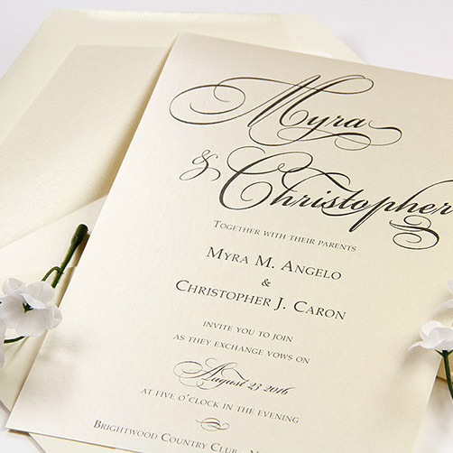 Simple metallic wedding invitation printed at home with laser printer
