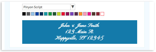 Select font and color for reply envelope printing