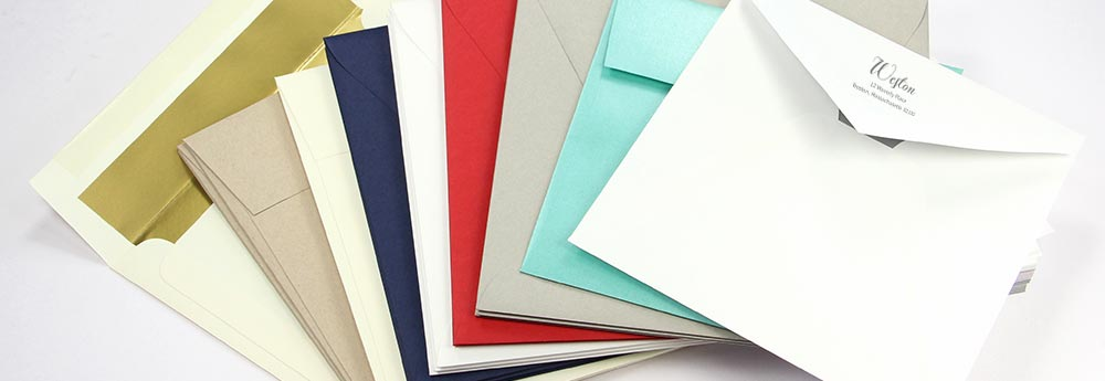 Square invitation envelopes in dozens of sizes, colors, finishes at LCI Paper