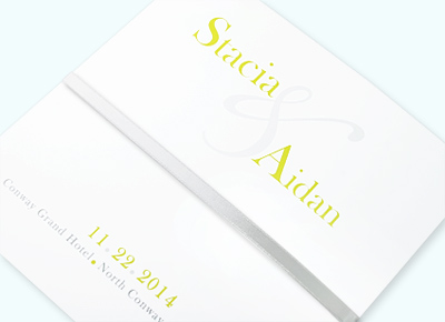 Square white tri-fold program with ribbon
