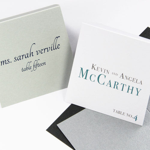 Square weddign place cards printed by LCI Paper. Option to upload custom design