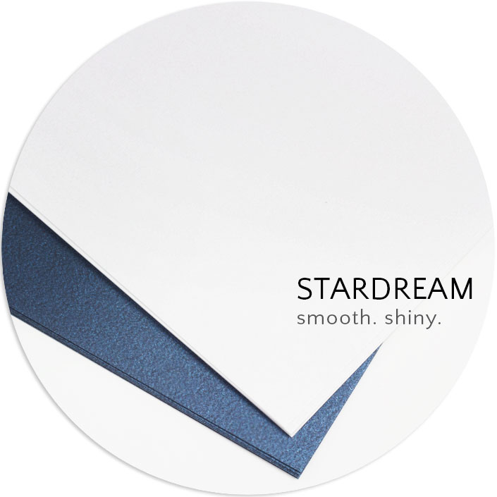 Stardream metallic paper has a dual sided, shimmering finish that is smooth to the touch