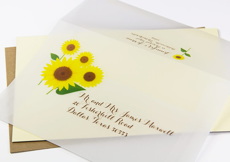 Clear vellum reply envelope printed with sunflower design and address