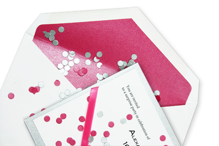 Silver, pink and white party invitation with pink metallic lined envelope
