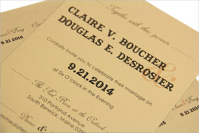 Tan cards with western typography