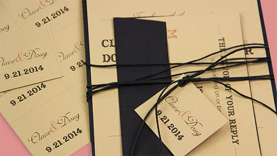 tan and black rustic invitation suite with twine and personalized tag
