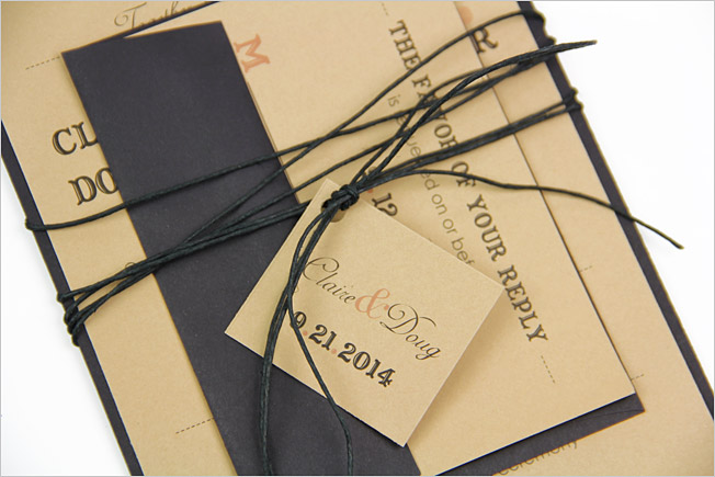 invitation suite wrapped in black twine