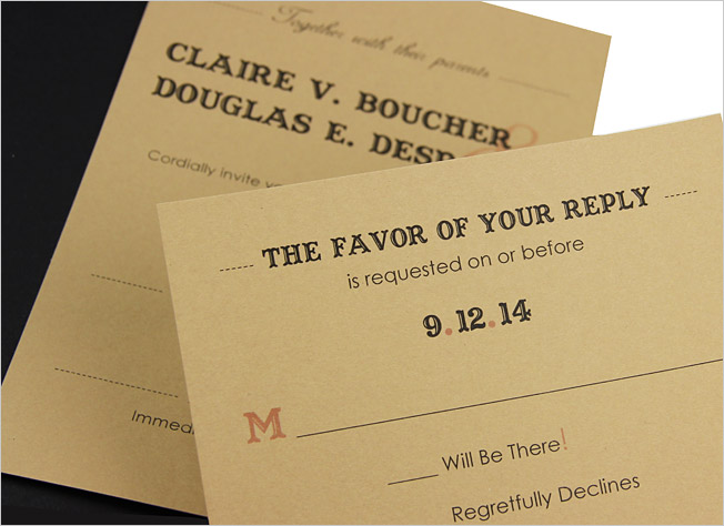 Tan response card with western typography