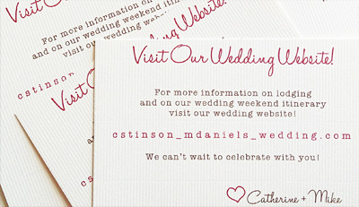 textured wedding website cards
