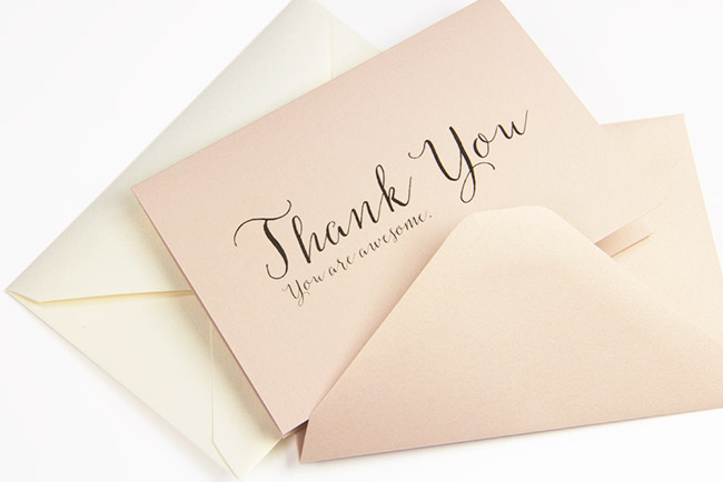 Free printable thank you card printed on Curious Metallics Nude card - thank you, you're awesome