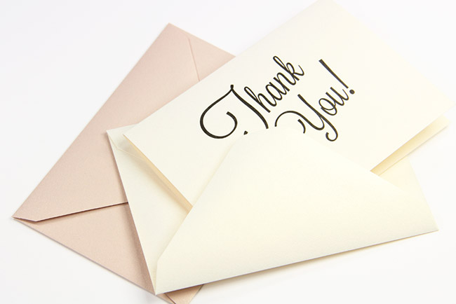 Free printable thank you card printed on Curious Metallics White Gold card - thank you script