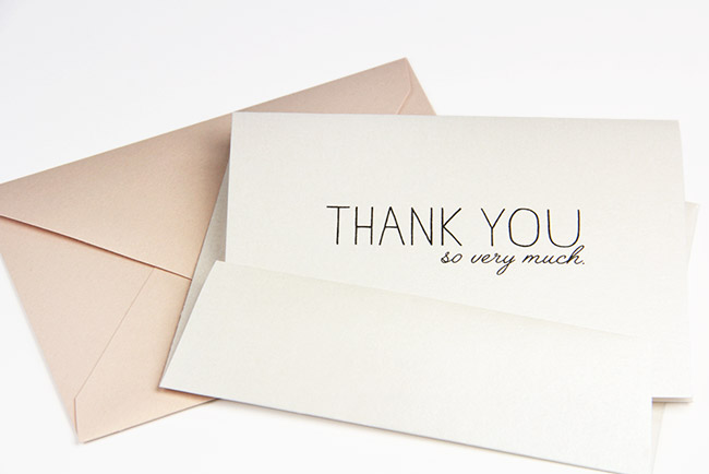 Free printable thank you card printed on Stardream Quartz card - thanks you so very much
