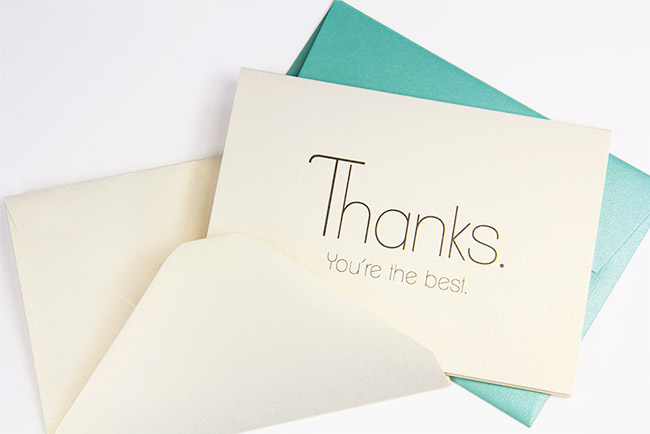 Free printable thank you card printed on Curious Metallics White Gold card - thanks, you're the best