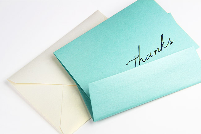 Free printable thank you card printed on Stardream Lagoon card - thanks script