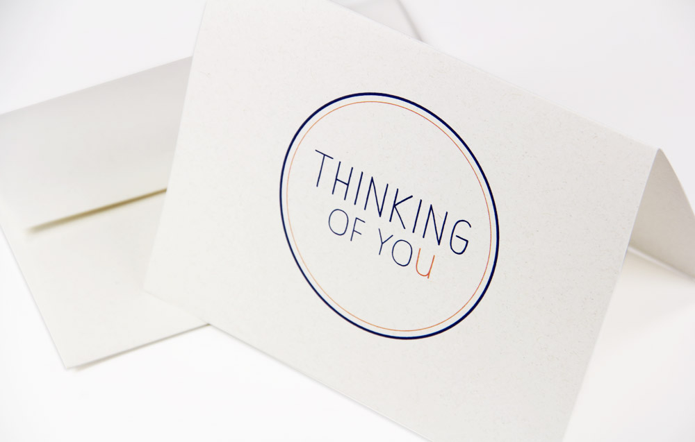 Thinking of you card printed on Neenah Environment Moonrock