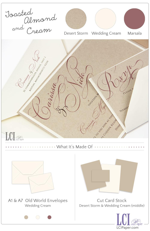 Simple, Elegant Wedding Invites in Toasted Almond & Cream