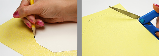 Trace envelope liner template onto decorative envelope lining paper