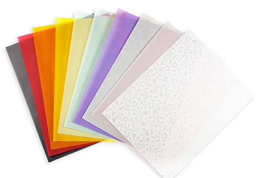 Array of translucent vellum paper