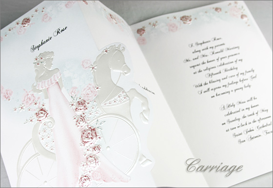Quincearera tri-fold Carriage invitation