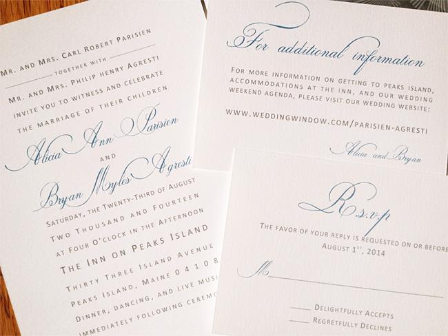 invitation, information, and response cards with elegant typography