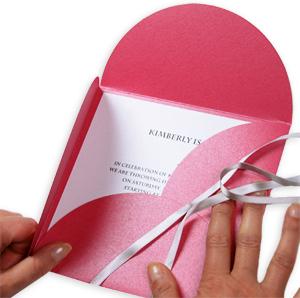 Open Stardream Azalea metallic pochette envelope to reveal invitation card.