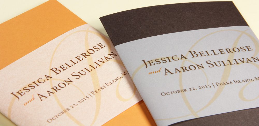 folding wedding programs with wide printed vellum bands