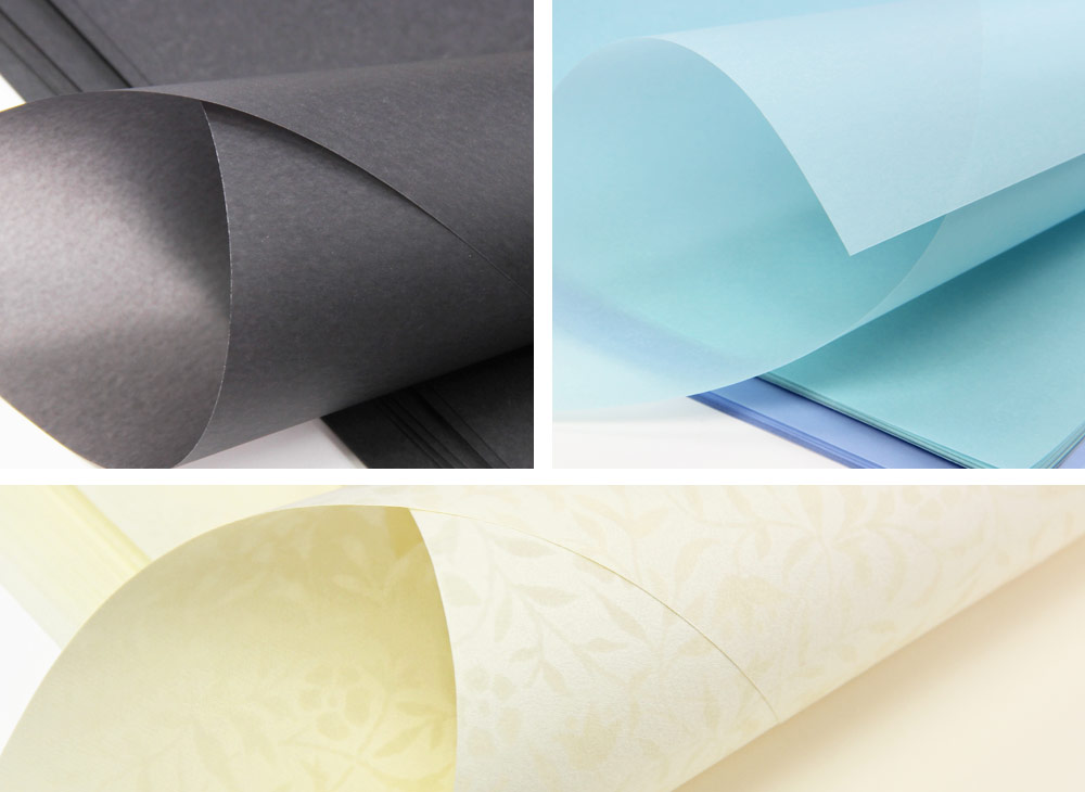 Collage of translucent papers offered at LCIPaper.com