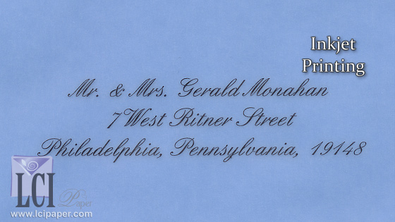blue vellum translucent envelopes inkjet printing example