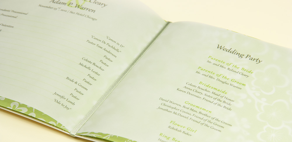 folding wedding program with printed vellum insert sheets