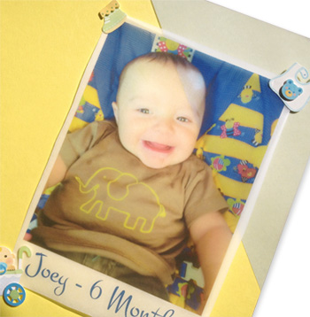 photo printed on vellum in scrapbook page
