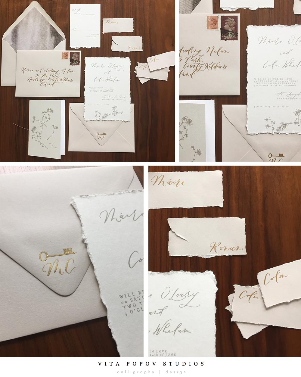 Hand deckled, simple, modern custom wedding invites - Vita Popov Studios