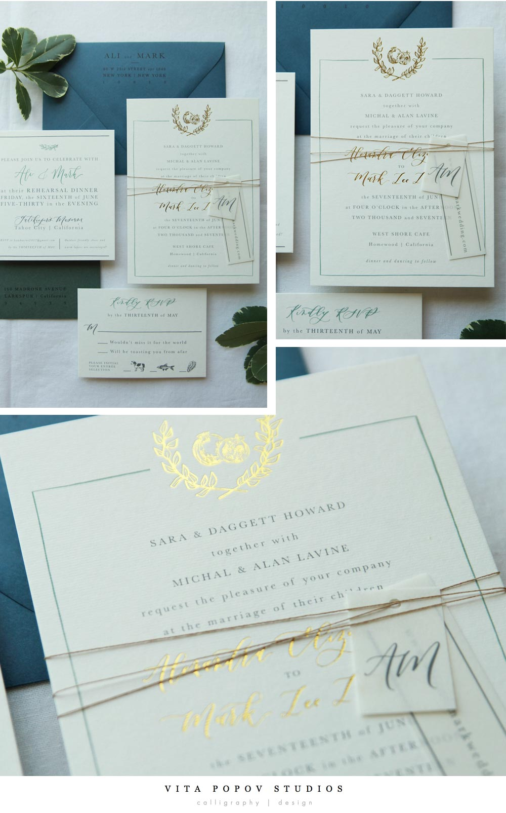 Custom made simple wedding invitation suite by Vita Popov Studios