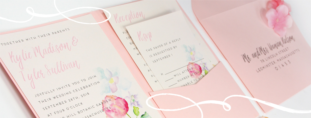watercolor pink invitation made with matte pocket from lci paper