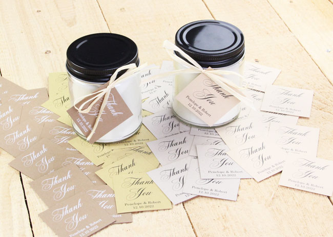 Kraft Personalized Wedding Favor Tags made with flat kraft cards printed in white from LCI Paper. Materials list and free template in post. Print at home or order printed.