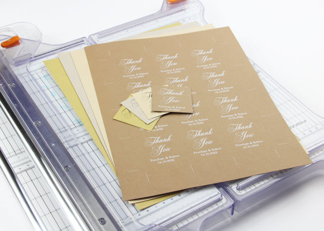 Cut wedding favor tags from 8 1/2 x 11 paper