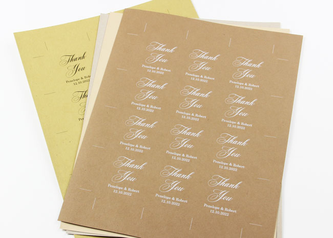 Use template to customize and print wedding favor tags on 8 1/2 x 11 card stock